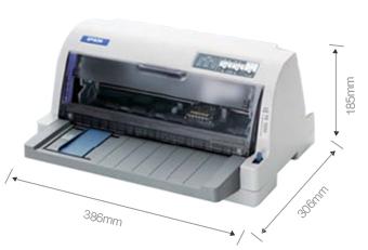 產品外觀尺寸 - Epson LQ-630KII產品規格
